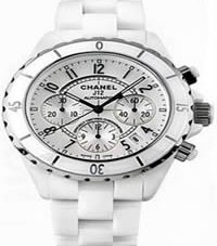 Chanel J12 Chronograph White Ceramic Mens Watch H1007