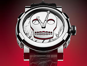 RJ-Romain Jerome watch collection by John M Armleder features Skull Motif