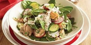 Salmon Salad with Tahini Dressing