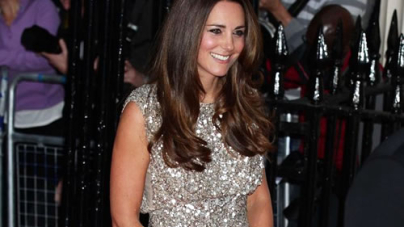 Kate Middleton Glitters in Gold Sequins Dress at Red Carpet