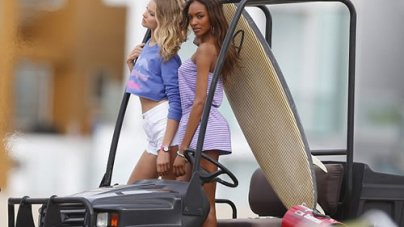 Victoria's Secret Angels on Beach for Fashion Shoot