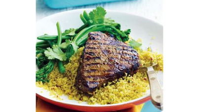 Steak with Spiced Couscous and Broccolini