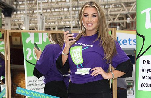 Lauren Goodger Wears Super tight Leggings Launch Samaritans Phone Free Friday Campaign