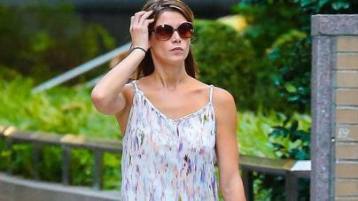 Ashley Greene flashes slim pins in floaty slip dress