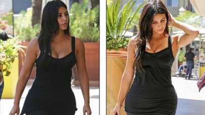 Kim Kardashian without make-up at gym