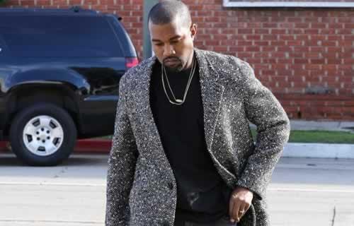 Kanye West Sports a Glum look Heading into the Studio
