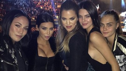 Kim, Khloe, Kendall and Cara Delevingne at Sam Smith Concert in LA