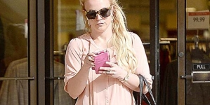 Britney Spears in Peach Blouse and Towering Heels in LA
