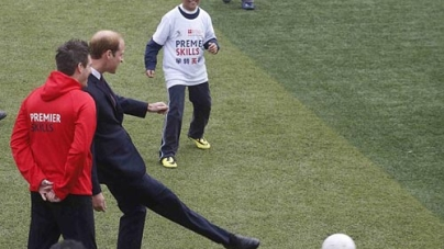 Prince William Shows off his FootBall Skills in Shanghai