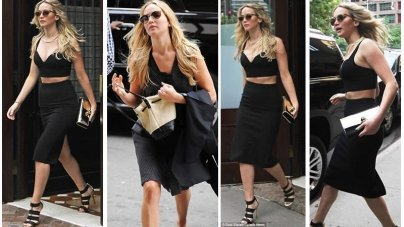 Jennifer Lawrence Sizzled in a Black Crop Top in NY City