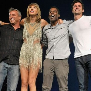 Matt LeBlanc and Chris Rock join Taylor Swift on stage in LA