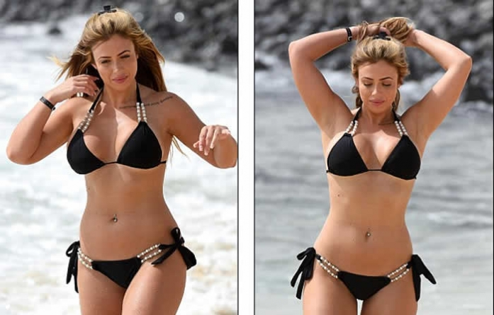 Holly Hagan Shows off her HUGE Cleavage in Pearl String Bikini