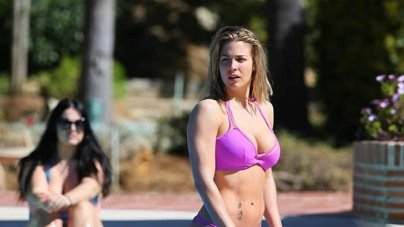 Gemma Atkinson Wears Tiny Pink Bikini While on Marbella Holiday