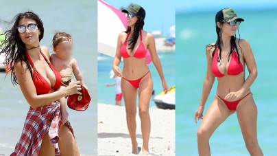 Bacary Sagna's WAG Ludivine Pictured in a Red Bikini