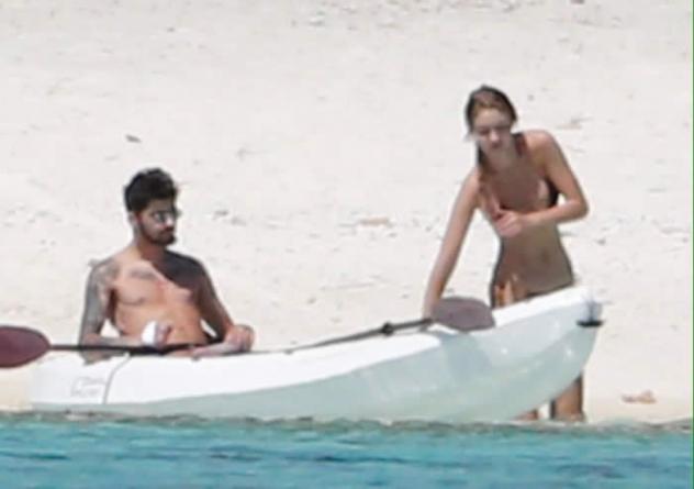 Gigi Hadid Pushing Zayn Malik's Canoe