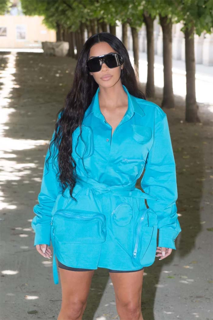 Kim Kardashian's Blue Dress at Louis Vuitton Show in Paris