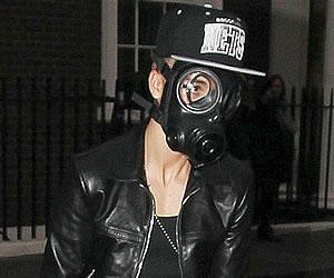 Justin Bieber takes Gas Mask