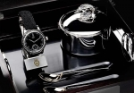 Royal Black Caviar Watch with Exclusive Silver caviar case and 24kt gold Plated Spoons