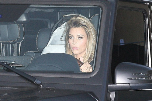 Kim Kardashian in car