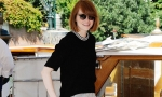 Emma Stone in black blouse