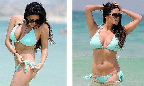 Casey Batchelor in slinky mint bikini