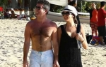 Simon Cowell and Lauren Silverman at Beach