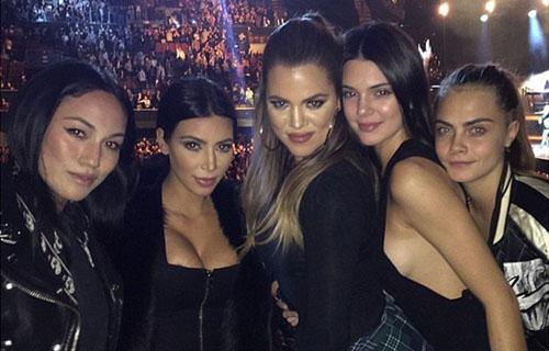Kim, Khloe, Kendall and Cara Delevingne in LA