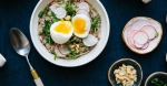 breakfast porridge soft with egg pea shoots