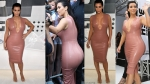 Kim Kardashian Squeezes into Latex Dress With a VERY Plunging Neckline