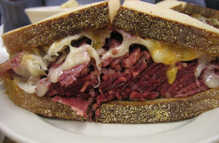 Reuben sandwich consists of corned beef,