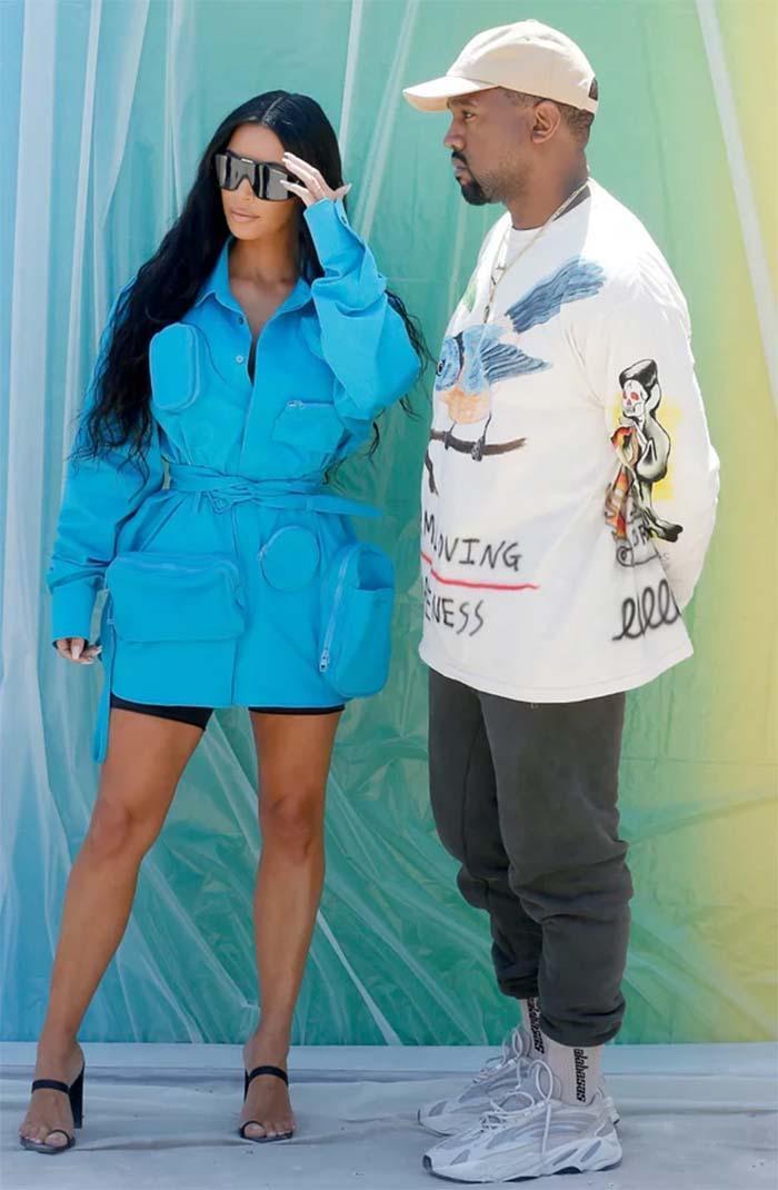 Kim Kardashian's Blue Dress at Louis Vuitton Show in Paris
